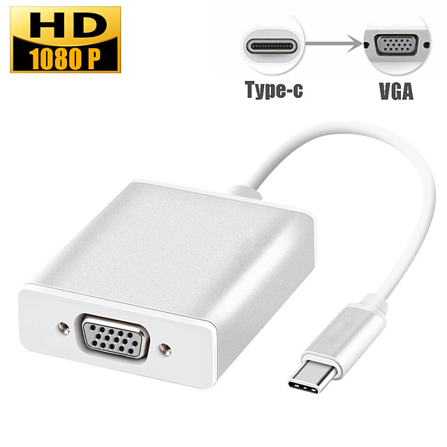 Type-C Male to VGA Female Adapter Converter Cable USB C USB 3.1 to VGA Converter for Macbook Game Meeting Samsung Google Huawei