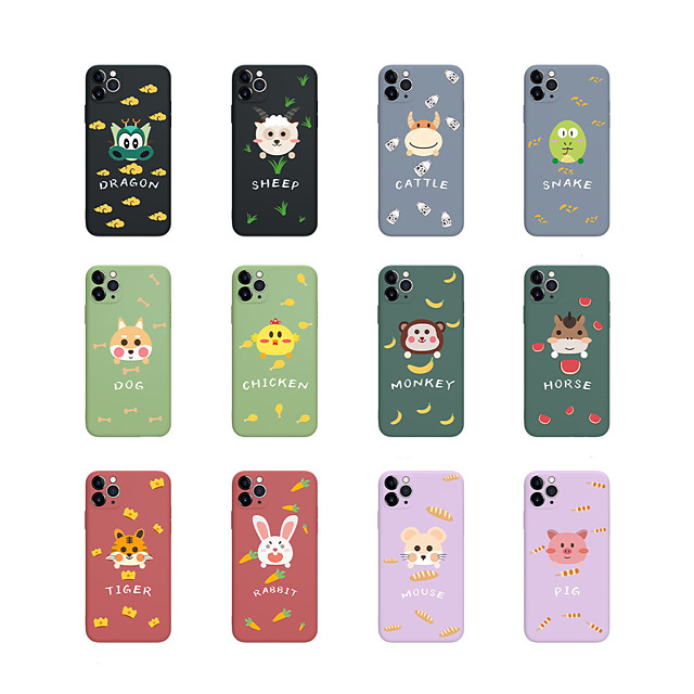 Case For iPhone 6 6s 7 8 6plus 6splus 7plus 8plus X XR XS XSMax SE(2020) iPhone 11 11Pro 11ProMax iPhone 12 Shockproof Ultra-thin Pattern Back Cover Word Phrase Animal Silicone