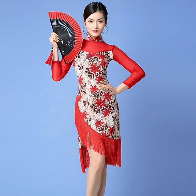 Latin Dance Dress Tassel Split Pattern / Print Women's Training Performance Long Sleeve Natural Nylon Tulle