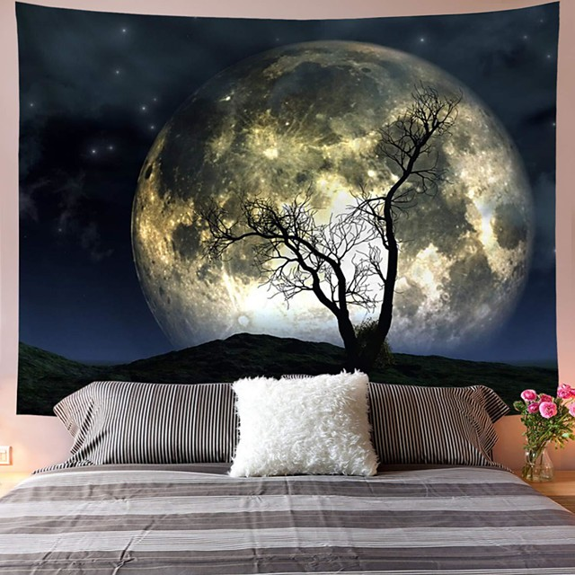 Wall Tapestry Art Decor Blanket Curtain Picnic Tablecloth Hanging Home Bedroom Living Room Dorm Decoration Polyester Tree Moon Sky Views