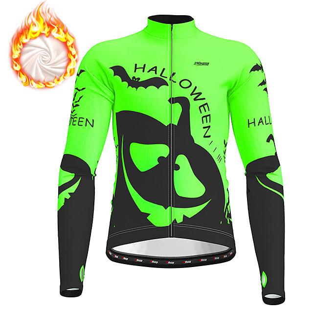 21Grams Men's Long Sleeve Cycling Jacket Winter Fleece Polyester Orange Green Novelty Funny Bike Jacket Top Mountain Bike MTB Road Bike Cycling Thermal Warm Fleece Lining Breathable Sports Clothing