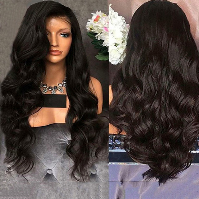 Synthetic Wig Body Wave Middle Part Wig Very Long Black Synthetic Hair 28 inch Women's Classic Middle Part Exquisite Black