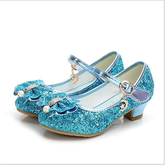 Princess Elsa Shoes Girls' Movie Cosplay Sequins Golden / Black / Red Shoes Children's Day Masquerade