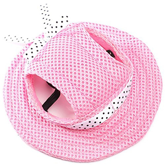 round brim princess cap visor hat pet dog mesh porous sun cap with ear holes for small, extra small dog teddy, pug, chihuahua, shih tzu, yorkshire terriers, papillon pink m