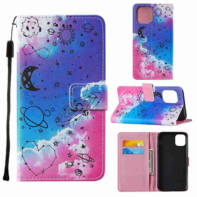 Case For Apple iPhone 12 iPhone 11 Pro Max iPhone 11 Pro Wallet Card Holder with Stand Full Body Cases Love Universe PU Leather TPU for iPhone 11 iPhone Xs Max iPhone Xr iPhone Xs iPhone X