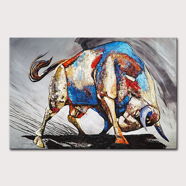Oil Painting Hand Painted - Animals Pop Art Modern Rolled Canvas (No Frame)
