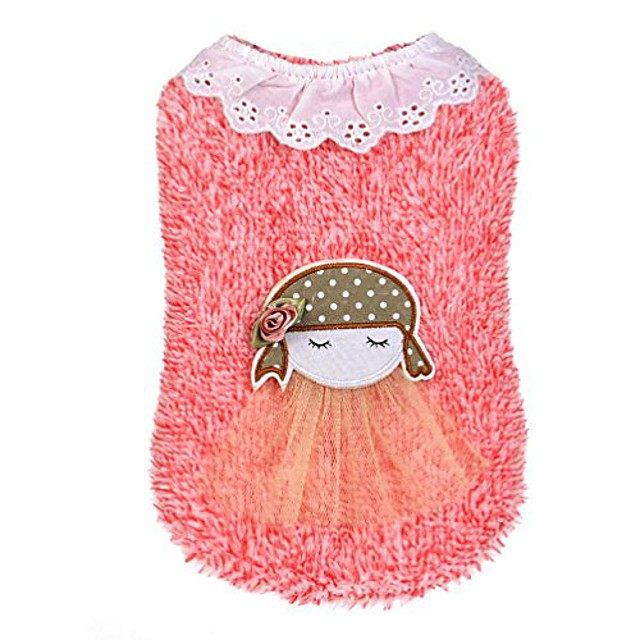 dog clothes pet puppy little girl with sweater charm apparel coat clothes outwear (red)