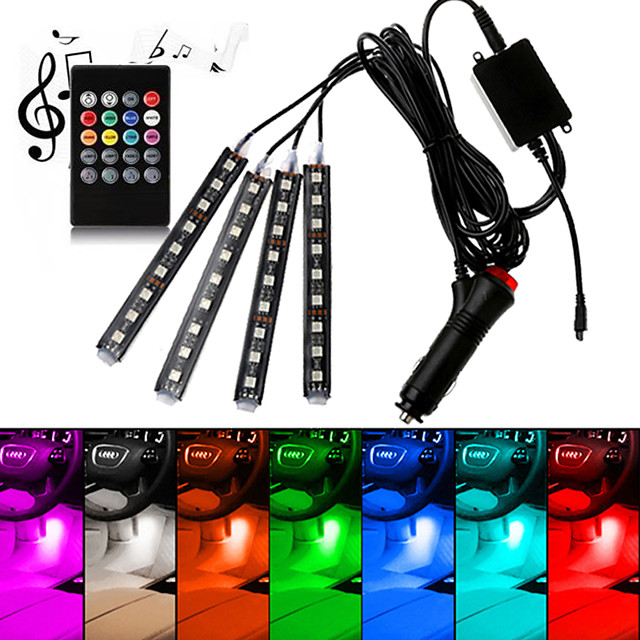Car RGB LED Interior Strip Light 4pcs Colors Car Styling Decorative Light Music sound Control Multiple lighting Atmosphere Lamps Interior With Remote Dash Floor Foot Lamp USB/Car plug charger 12V/5V