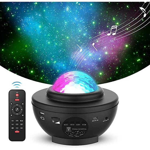 LED Star Night Light Wave Sky Starry Galaxy Projector Blueteeth USB Voice Control Music Player 360 Rotation Night Lighting Lamp