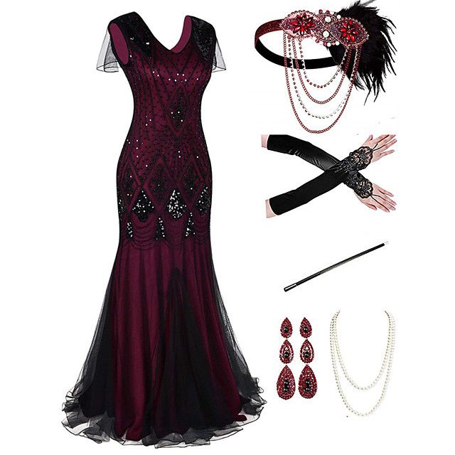 The Great Gatsby 1920s Vintage Vacation Dress Flapper Dress Outfits Masquerade Prom Dress Women's Tassel Fringe Costume Red+Black / 1 / Coral Red Vintage Cosplay Party Prom / Body Jewelry