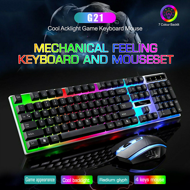 LITBest G21 USB Wired Mouse Keyboard Combo Mouse and Keyboard Suit with Rainbow Backlight LED Lights Gaming Mouse Office Mouse Ergonomic Mouse 1200 DPI