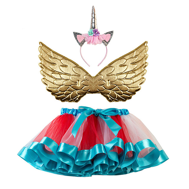 Unicorn Skirt Wings Girls' Movie Cosplay Tutus Purple / Yellow / Red Skirts Wings Headwear Christmas Halloween Carnival Polyester / Cotton Polyester