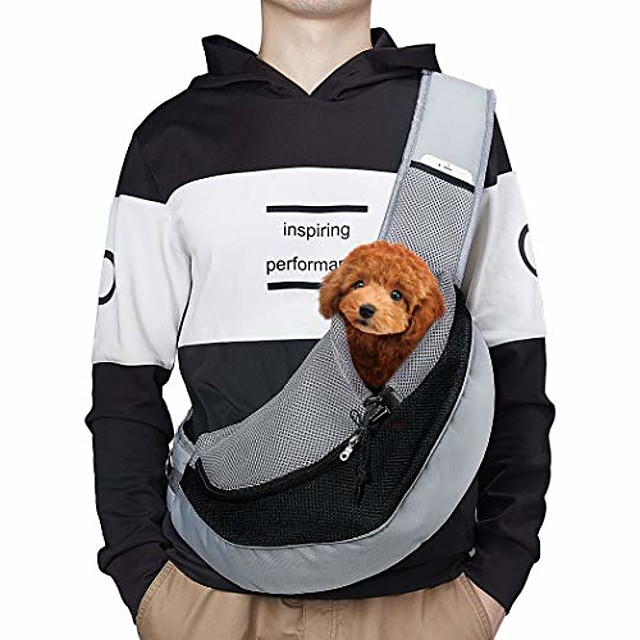 pet sling carrier, pet front pack hands free sling purse for small dogs cats, outdoor travel puppy carrying bag with adjustable shoulder strap black medium