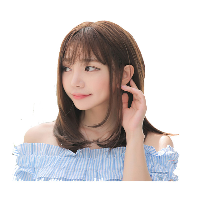 Synthetic Wig Curly kinky Straight With Bangs Wig Short Light Brown Synthetic Hair Women's Fashionable Design Cute Easy to Carry Light Brown