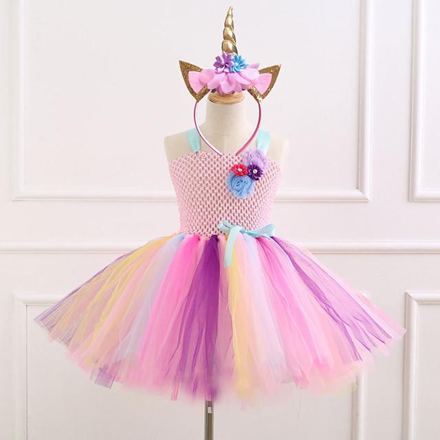 Unicorn Dress Girls' Movie Cosplay Vacation Dress New Year's Purple / Blue / Pink Dress Headwear Christmas Halloween Carnival Polyester / Cotton Polyester