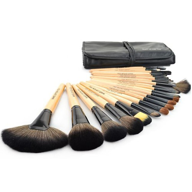 roll up case es kit 24 pcs pro wooden handle makeup brush tool & #40;wood& #41;