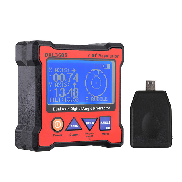 DXL360S Dual Axis Digital Angle Protractor High-precision Dual-axis Digital Display Level Gauge with 5 Side Magnetic Base
