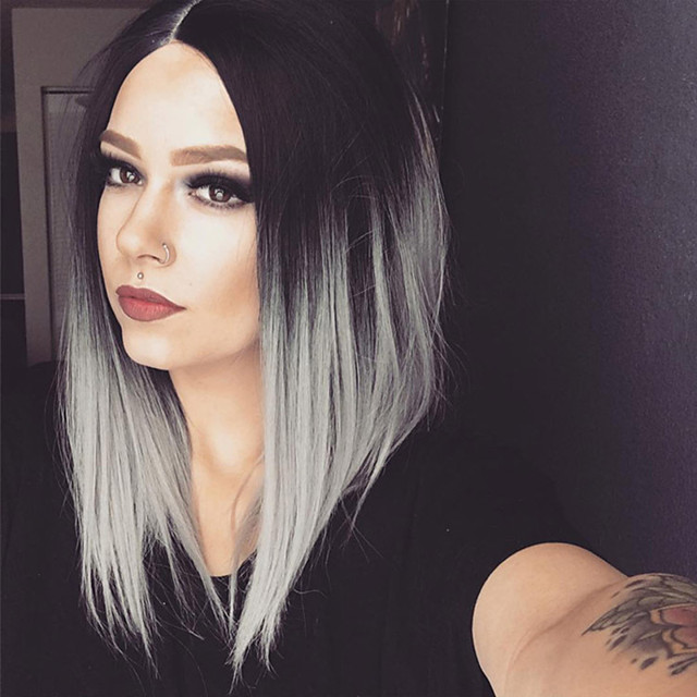 Synthetic Wig Straight Bob Middle Part Wig Short Grey Synthetic Hair Women's Middle Part Bob Ombre Hair Exquisite Gray
