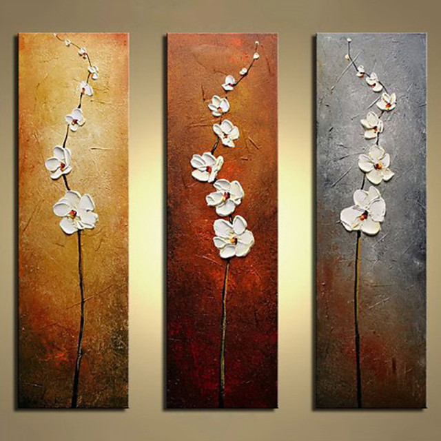 Oil Painting Hand Painted - Abstract Floral / Botanical Modern Rolled Canvas (No Frame) / Three Panels