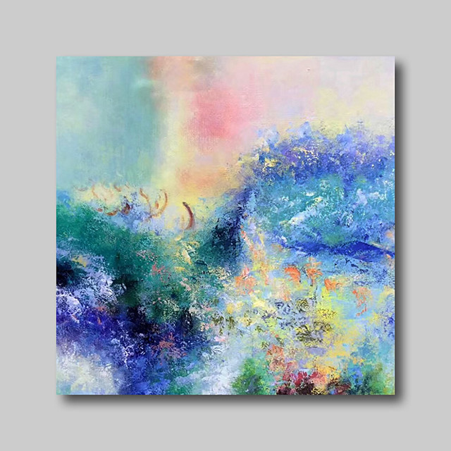 Oil Painting Hand Painted - Abstract Abstract Landscape Comtemporary Modern Stretched Canvas