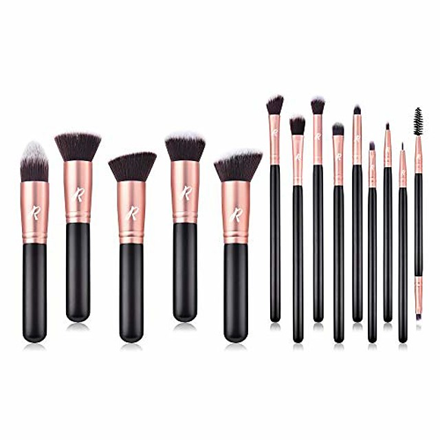 makeup brush set 14 pcs, rose gold, premium synthetic brush set & #40;rose gold& #41;