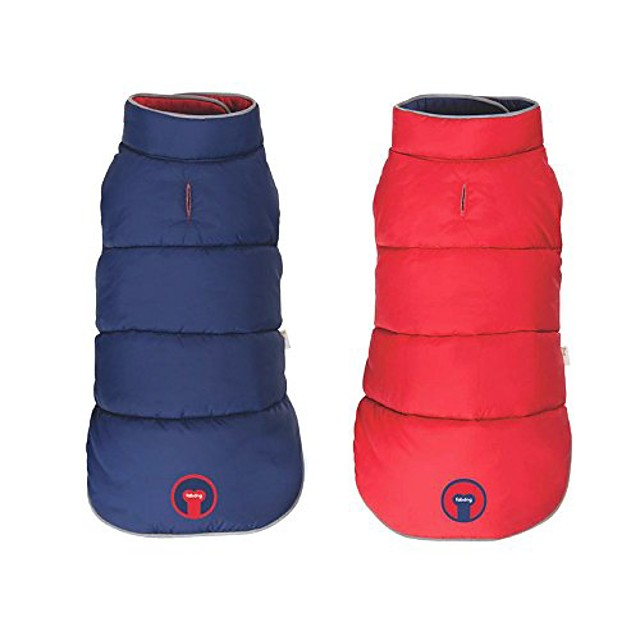 reversible puffer dog coat red/navy (20