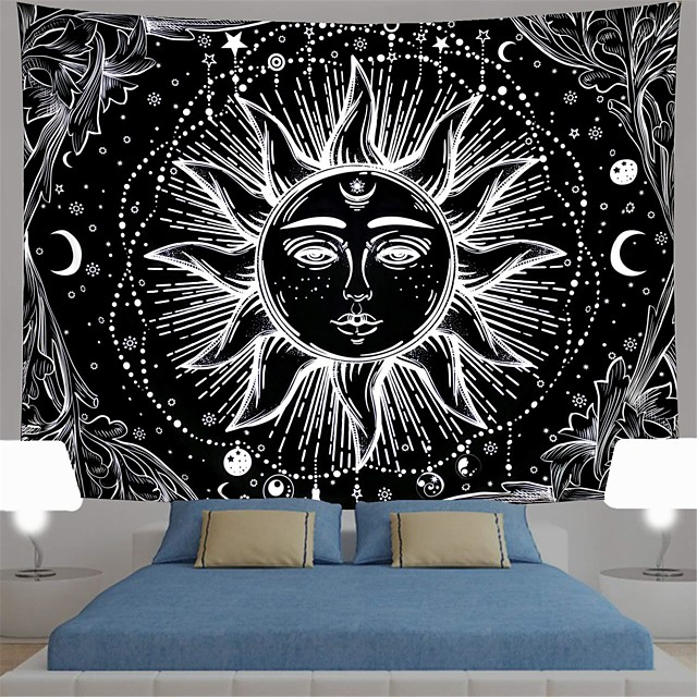 sun and moon tapestry black and white burning sun with stars tapestry psychedelic tapestry indian tapestry for room