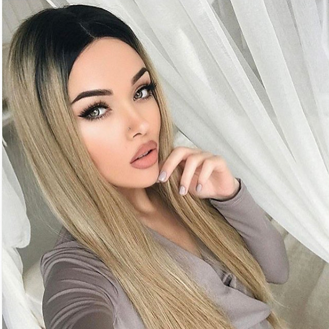 Synthetic Wig Straight Middle Part Wig Very Long Blonde Synthetic Hair Women's Classic Ombre Hair Middle Part Blonde