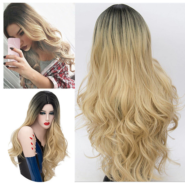 Synthetic Wig Body Wave Middle Part Wig Very Long Blonde Synthetic Hair 30 inch Women's Ombre Hair Romantic Fluffy Blonde