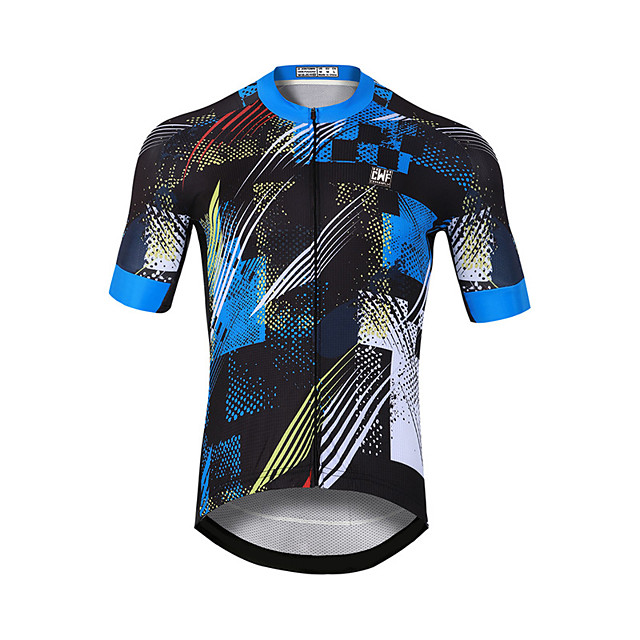 CAWANFLY Men's Short Sleeve Cycling Jersey Blue / Black Bike Jersey Top Mountain Bike MTB Road Bike Cycling Quick Dry Sports Clothing Apparel / Stretchy