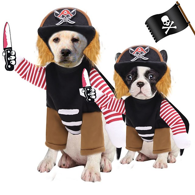 Dog Cat Costume Pirate Cosplay Winter Dog Clothes Puppy Clothes Dog Outfits Black Costume for Girl and Boy Dog Polyester S M L XL