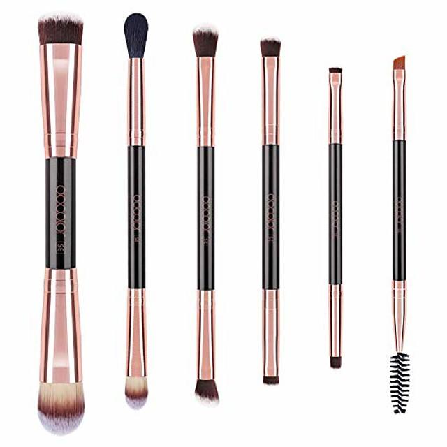 double sided makeup brushes, 6pieces double ended makeup brushes set professional foundation eyeshadow travel make up brushes kits
