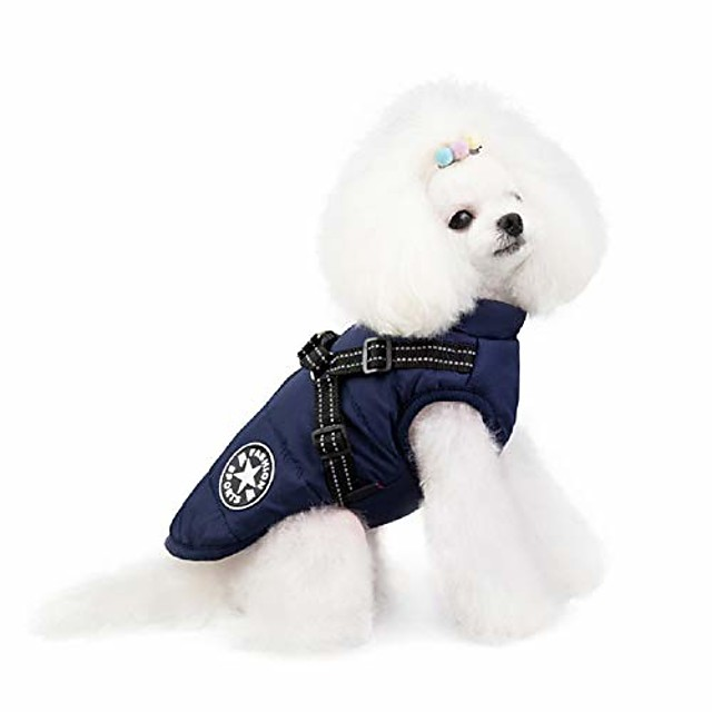 winter warm dog clothes waterproof snowsuit vest coats jacket for small medium large dogs puppy padded vest with zipper closure and leash ring