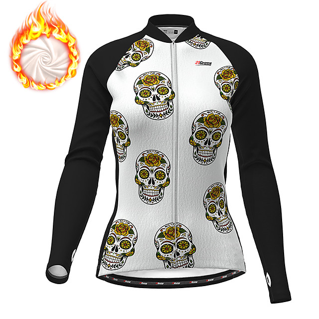 21Grams Women's Long Sleeve Cycling Jacket Winter Fleece Polyester Black Skull Funny Bike Jacket Top Mountain Bike MTB Road Bike Cycling Thermal Warm Fleece Lining Breathable Sports Clothing Apparel