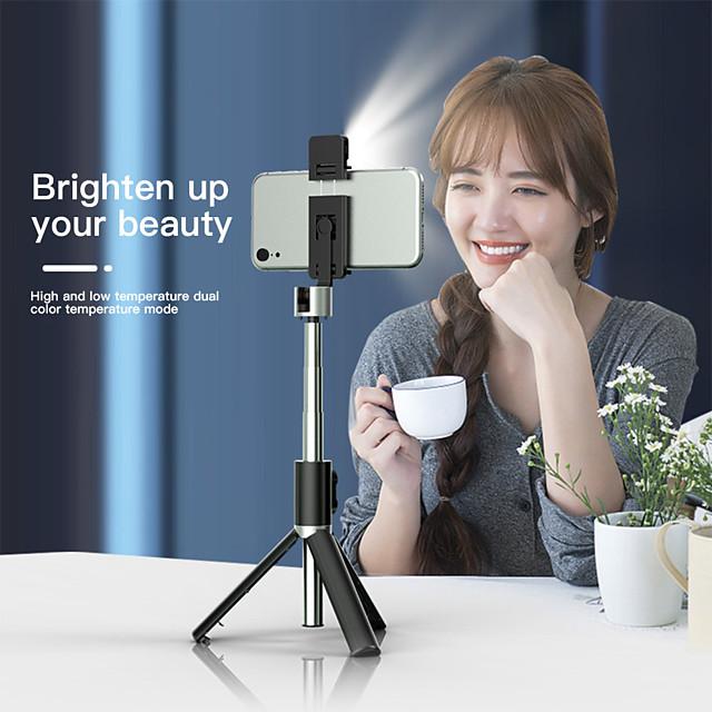 950mm 3in1 trådlös Bluetooth selfie-stick med fyllningslampa vikbar mini stativ expanderbart monopod för iPhone iOS Android
