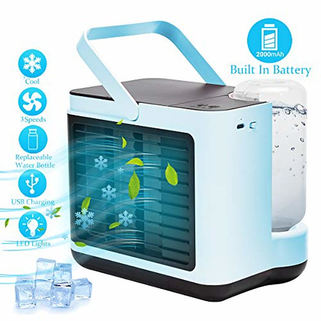 portable air conditioner fan, personal air cooler desk fan built in 2000 mah battery with 3 speeds suitable for office, camping, kitchen, bedroom (blue)