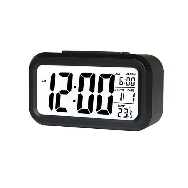 Alarm Clock LED Display Digital Alarm Clock Snooze Night Light Battery Clock with Date Calendar Temperature for Bedroom Home Office Travel(Not Include Batteries)