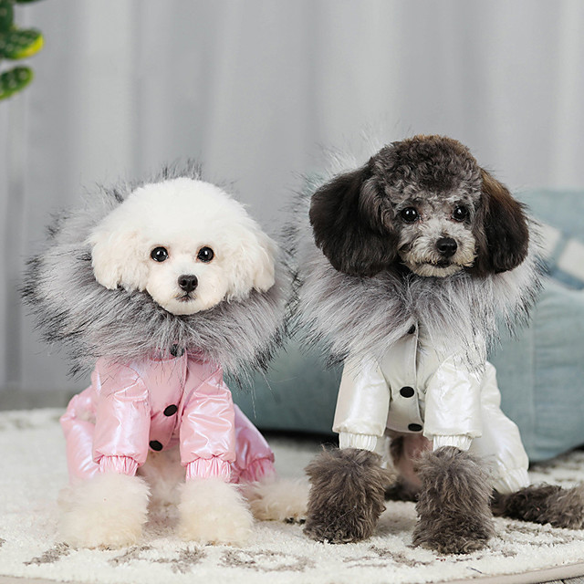 Dog Coat Solid Colored Casual / Sporty Fashion Casual / Daily Winter Dog Clothes Puppy Clothes Dog Outfits Breathable White Fuchsia Blue Costume for Girl and Boy Dog Cotton S M L XL XXL