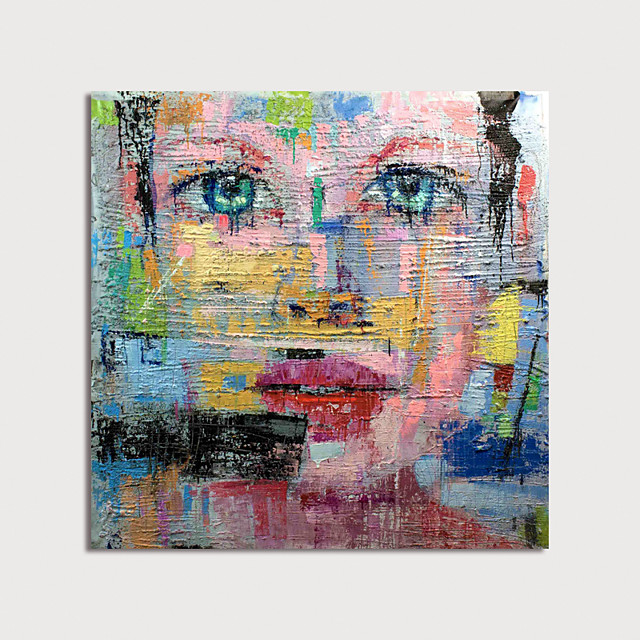 Oil Painting Hand Painted - Abstract People Modern Rolled Canvas (No Frame)
