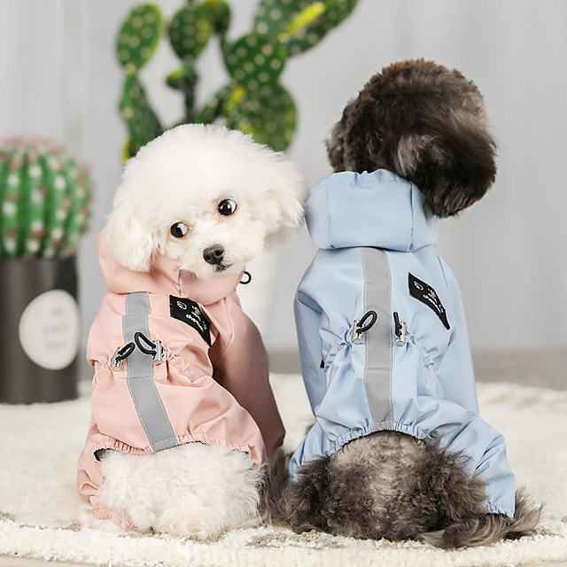 Dog Rain Coat Jumpsuit Color Block Minimalist Casual / Sporty Casual / Daily Outdoor Winter Dog Clothes Puppy Clothes Dog Outfits Waterproof Blue Pink Costume for Girl and Boy Dog Waterproof Material