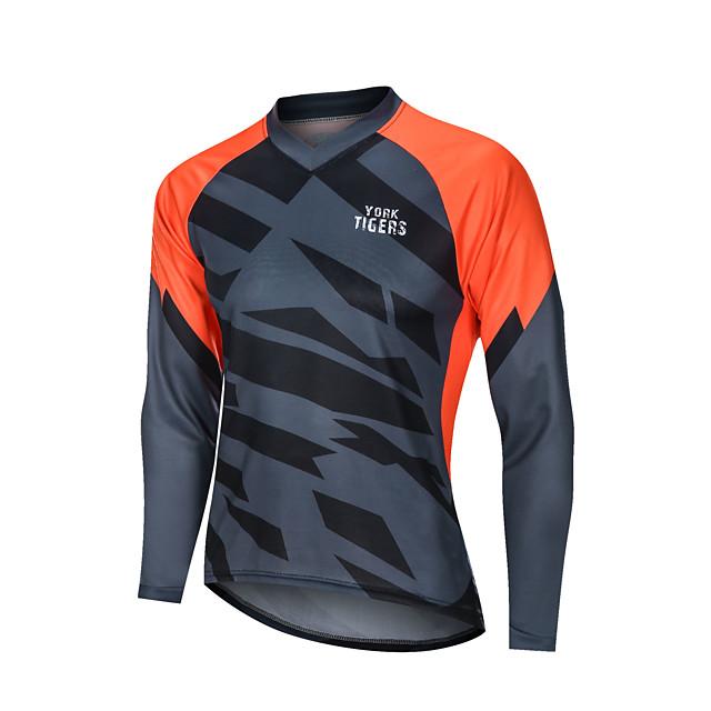 YORK TIGERS Men's Long Sleeve Cycling Jersey Downhill Jersey Grey Orange Patchwork Bike Tee Tshirt Sports Clothing Apparel / Advanced / Micro-elastic