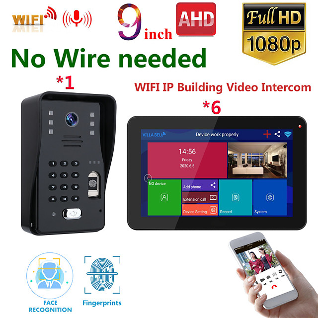 MOUNTAINONE SY909B018WF16 9 Inch Wireless WiFi Smart IP Video Door Phone Intercom System With 1x 1080P Wired Doorbell Camera And 6x Monitor Support Remote Unlock