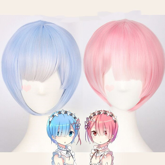 Synthetic Wig Rem Ram kinky Straight Bob Wig Short Pink Blue Synthetic Hair 12 inch Women's Anime Cosplay Adorable Blue Pink