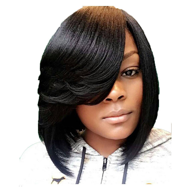 Synthetic Wig Straight Asymmetrical Side Part Wig Short Black Synthetic Hair 12 inch Women's Party Classic Side Part Black