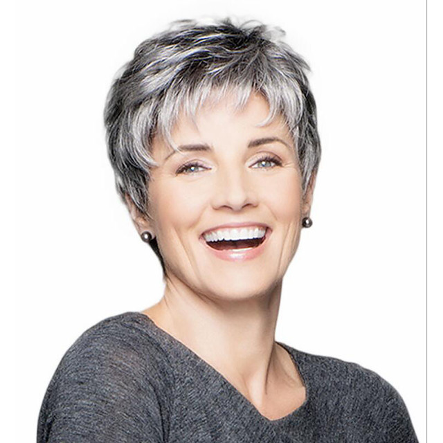 Synthetic Wig Curly Pixie Cut With Bangs Wig Grey Synthetic Hair 14 inch Women's Classic Adorable Cool Dark Gray