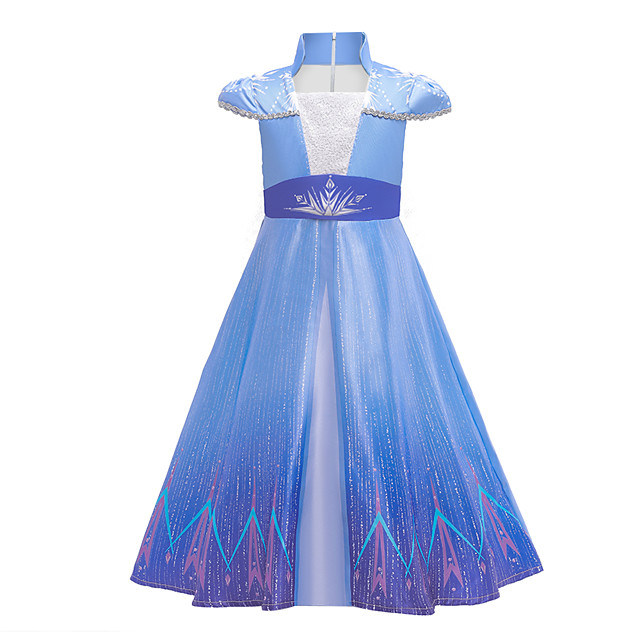 Fairytale Dress Girls' Movie Cosplay Cosplay Princess Vacation Dress Blue Dress Children's Day Polyester / Cotton