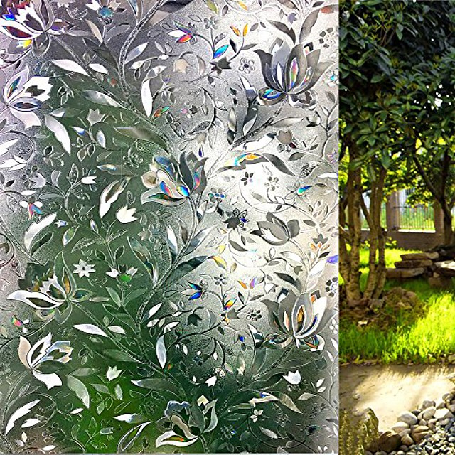 window film 3d no glue static decorative privacy window films for glass 23.6in. by 157.4in