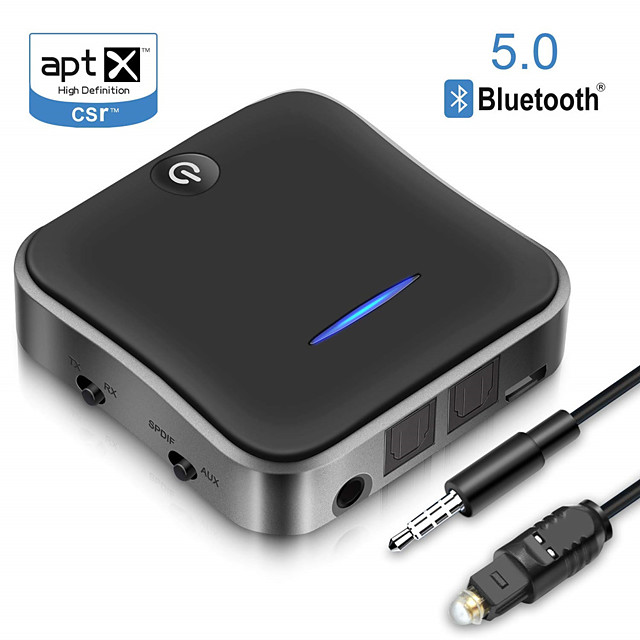 B19 Bluetooth5.0 Transmitter Receiver CSR8675 APTX HD LL Bt Audio Music Wireless USB Adapter 3.5mm 3.5 AUX Jack/SPDIF/RCA for TV PC