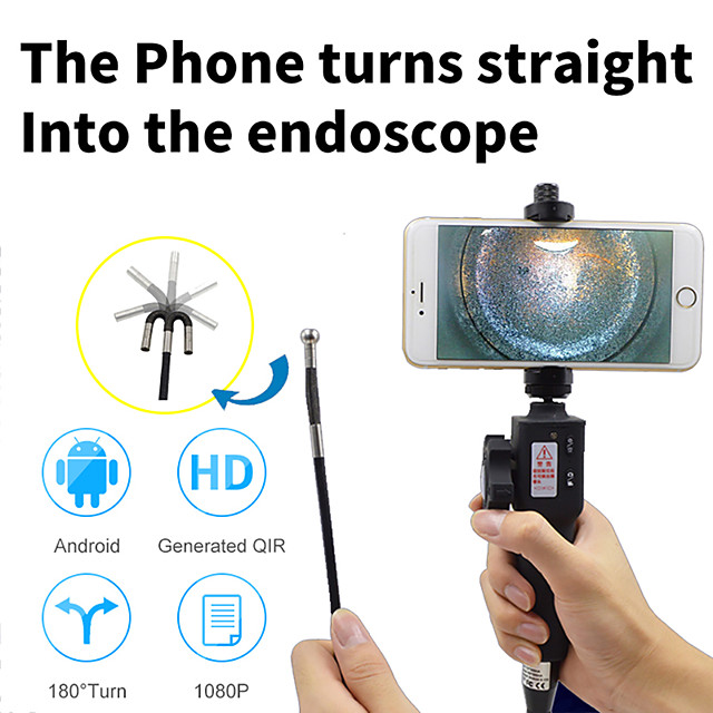 1M Industrial Video Inspection Camera USB Rigid Borescope Endoscope with 180 Degree Articulating 8.5mm Diameter Probe 1M
