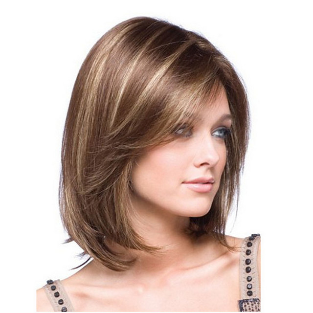 Synthetic Wig Straight kinky Straight Asymmetrical Wig Short Light Brown Synthetic Hair 14 inch Women's Fashionable Design Adorable Comfortable Light Brown